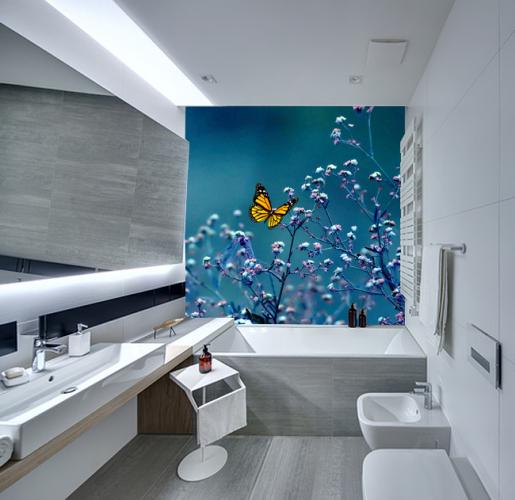 Panel szklany do łazienki z motywem motyla i gałązek